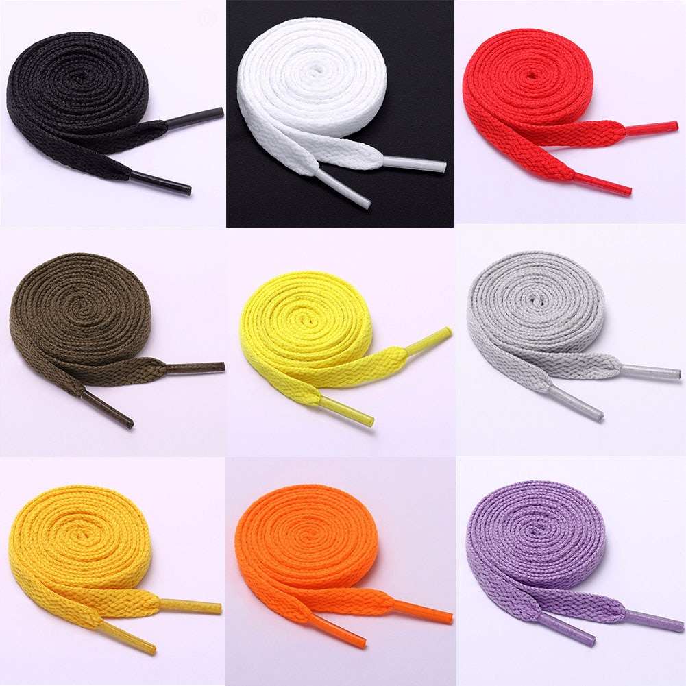 1 Pair 120cm Shoelace Flat Popular Sports Shoes Laces Casual Canvas Polyester Shoelaces Candy Color