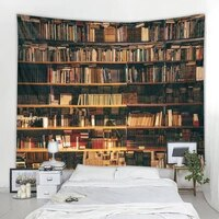 library bookshelf tapestry environmentally friendly printing soft and easy care decorative hanging cloth