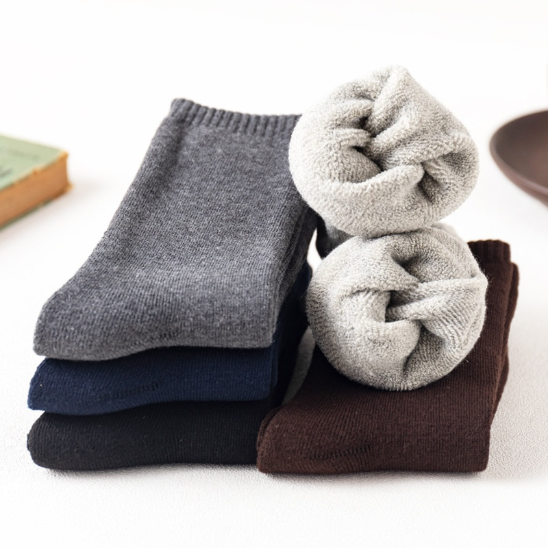 5 Pairs Cotton Socks Men's Classic Solid Color Leisure Warm Adult Socks Autumn Winter Plush Thickened Terry Middle Tube Socks
