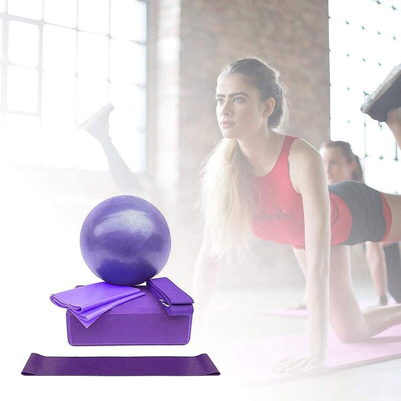 Yoga Starter Kit 5pcs Yoga Equipment Set Yoga Ball Yoga Block Stretch Band Resistance Band Pilates Exercise Fitness Sport