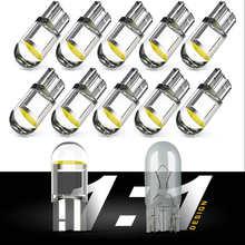 Super Bright 2/10 Pcs W5W 194 T10 LED Glass Housing Cob Car Bulb 6000K White Green Blue Red Wedge License Plate Lamp Dome Light