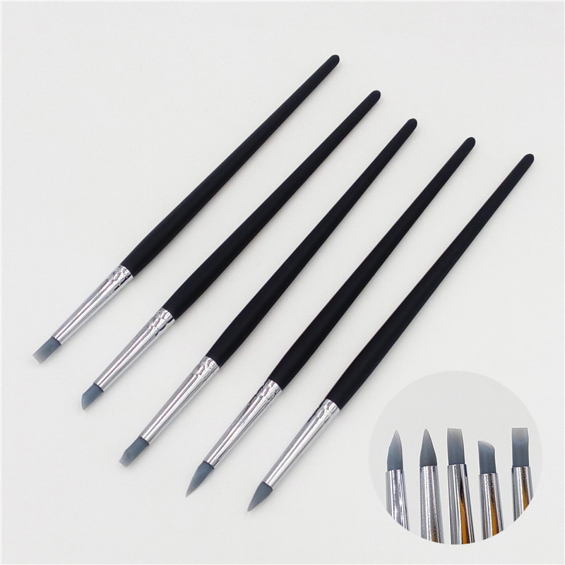 5Pcs Set Of Nail Brushes, Soft Clay Pencils, Diy Silicone Clay Carving Craft Supplies, Pottery Uv Gel Construction Tools
