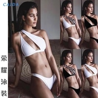 caida sexy one shoulder women bikini set 2021 new swimwear push up padded swimming suit women summer bathing suit beachwear new