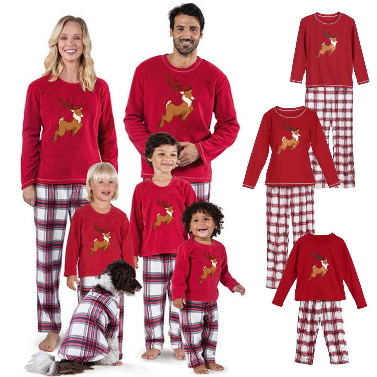 Fashion Adult Kids Baby Family Matcing Christmas Pajamas Set Sleepwear Xmas Pj's Nightwear Set Family Homewear Pajama Sets