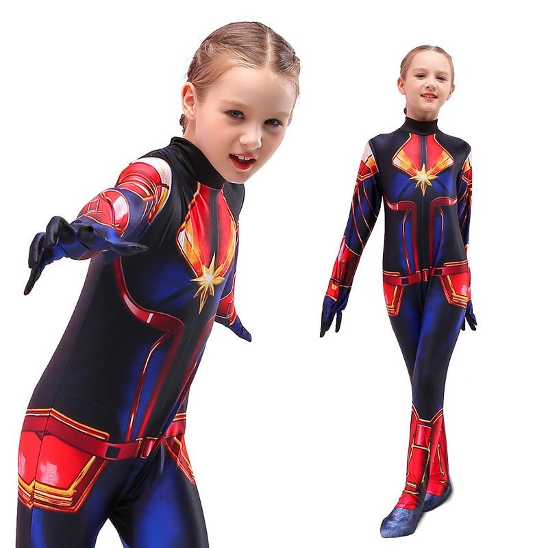 Children Captain Girls Cosplay Superhero Ms Marvel Carol Danvers Bodysuit Jumpsuit Halloween Costume for Kids