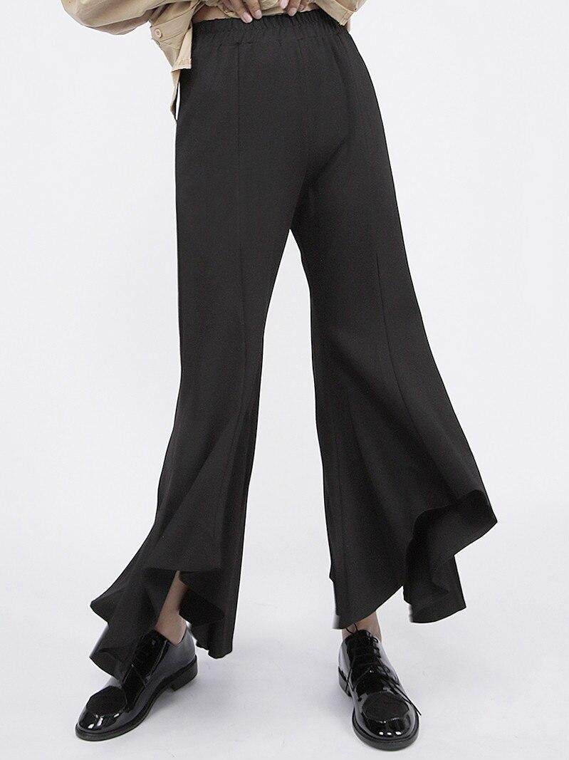 XUXI Dark Series 2020 Spring New Trumpet Pants Women's Casual Slim Black Ankle-length Pants Wide-legged Pants FZ1406