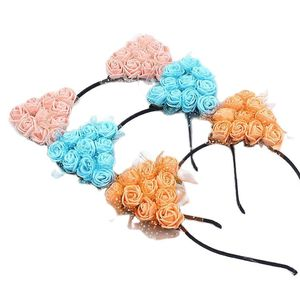 Girls Cat Ears Hair Bands Women EVA Rose Flowers with Muslin Cute Bunny Ears Headband Anime Character Cosplay Children's Buckle