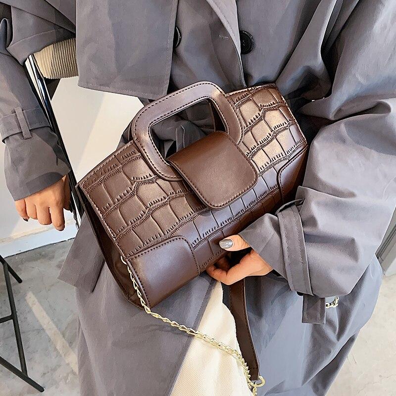 Crocodile pattern Square Tote bag 2021 Fashion New High quality PU Leather Women's Designer Handbag Chain Shoulder Messenger Bag