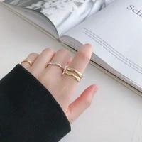 silver plated wave curve ring fashion simple geometry womens handmade jewelry couple index finger ring wedding engagement ring