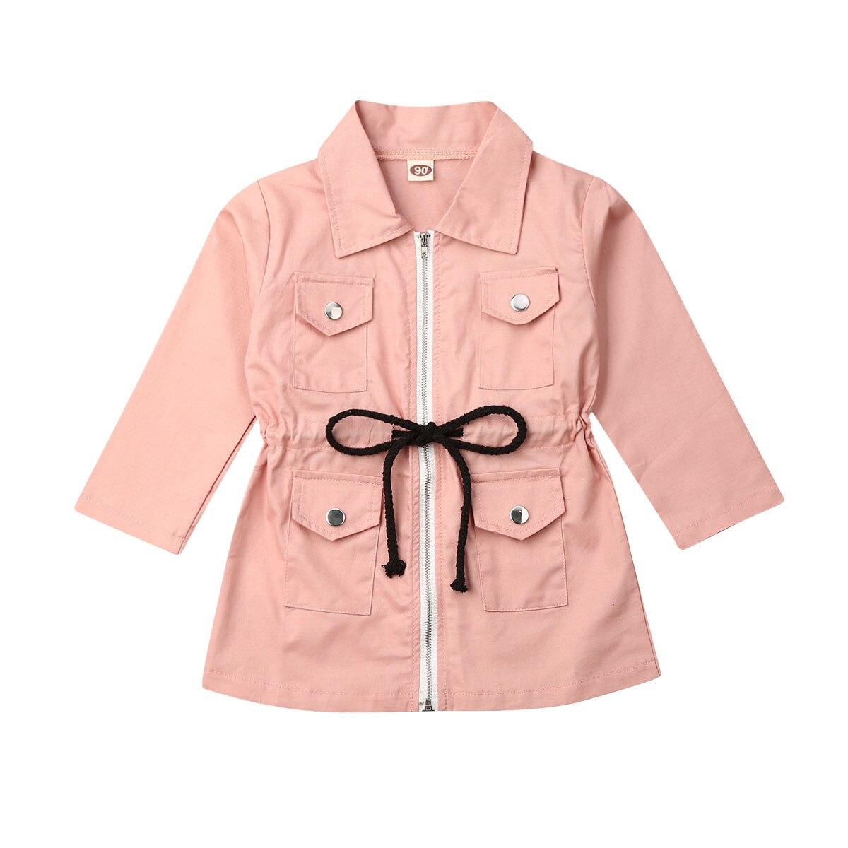 Otoño chico chica Trench manga larga sólido cremallera solapa chaqueta de moda al aire libre 1-7Y chica clothestop