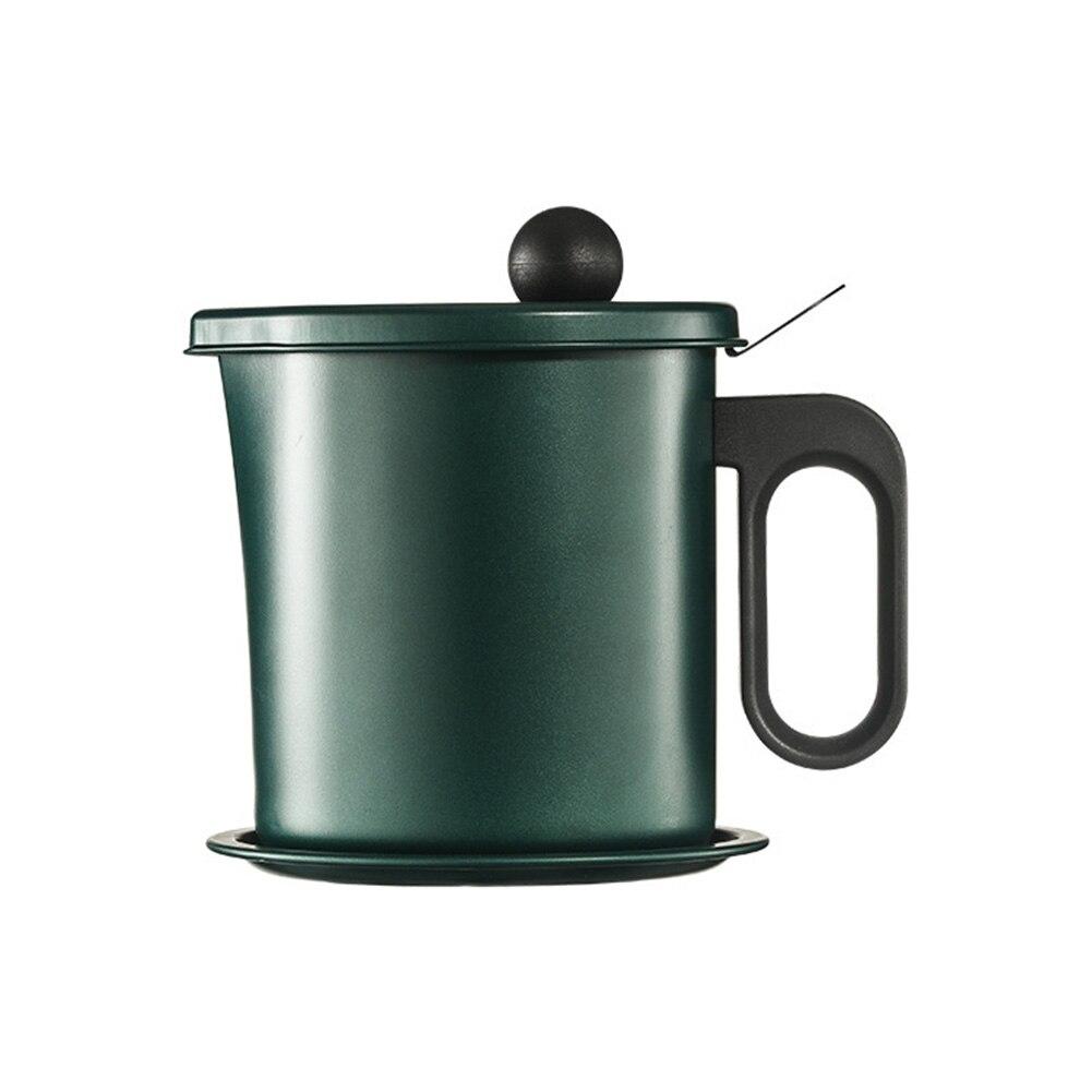 Recipiente de Óleo Destacável de Aço Cozinhar com Filtro Armazenamento Pode Cozinha Inoxidável Malha Fina Bacon Graxa Pot Dispenser 1.7l