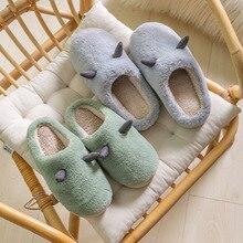 2021 Winter New Couple Cartoon Plush Slippers Indoor Warm Slippers Female Household Non-slip Cotton