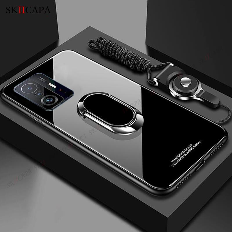 For Xiaomi 11T Pro Tempered Glass Phone Case For Mi 11 Ultra 10S 10T Lite POCO F3 M3 Magnetic Stand