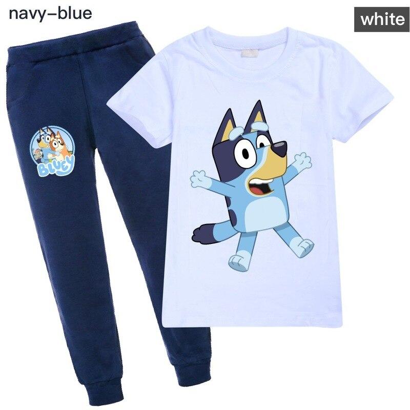 Animal Bingo Bluey niños bebé niña ropa conjunto activo de algodón de manga corta Camiseta + Pantalones Niño Halloween Odziez Dziecieca