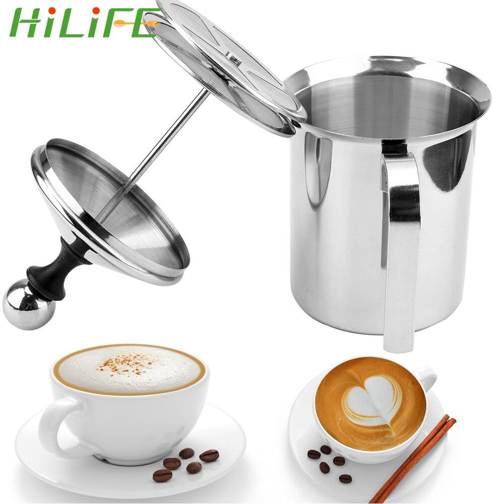 Espumador de café HILIFE con jarro de leche de malla doble, mezclador de café de acero inoxidable, Espumador Manual de leche, 400/800ML