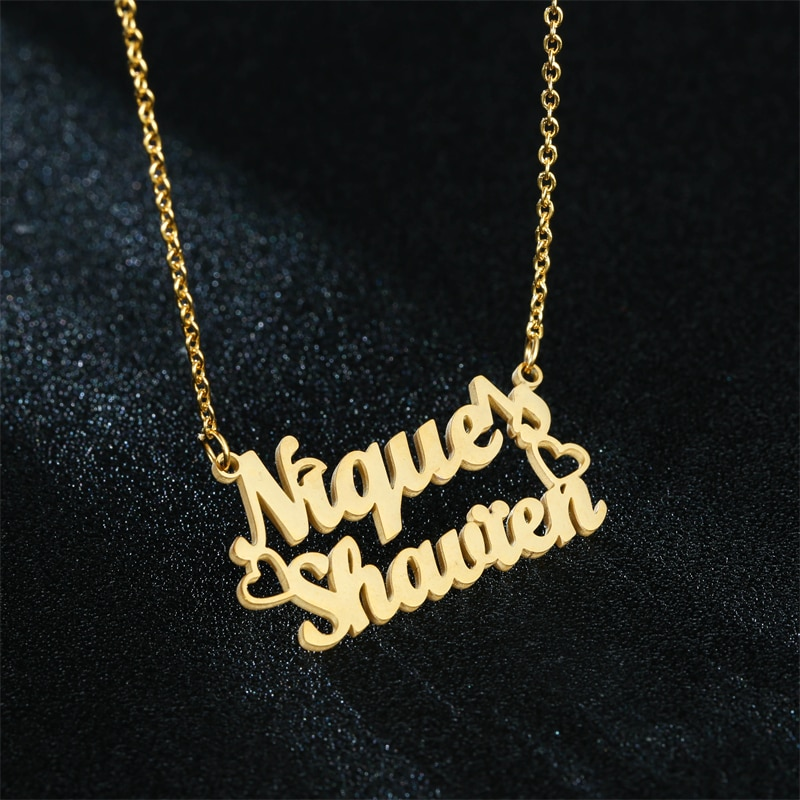 women costume two name necklace rose gold personalized infinity double names necklaces stone chain jewelery gift for lover mom Customized Name Stainless Steel Necklaces Personalized Jewelry Two Name for Women Mom Couple Nameplate Gift Personality Necklace