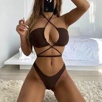bikini set 2021 micro bikini bandage women swimsuit female sexy swimwear beachwear brazilian biquini halter bathing suit swim