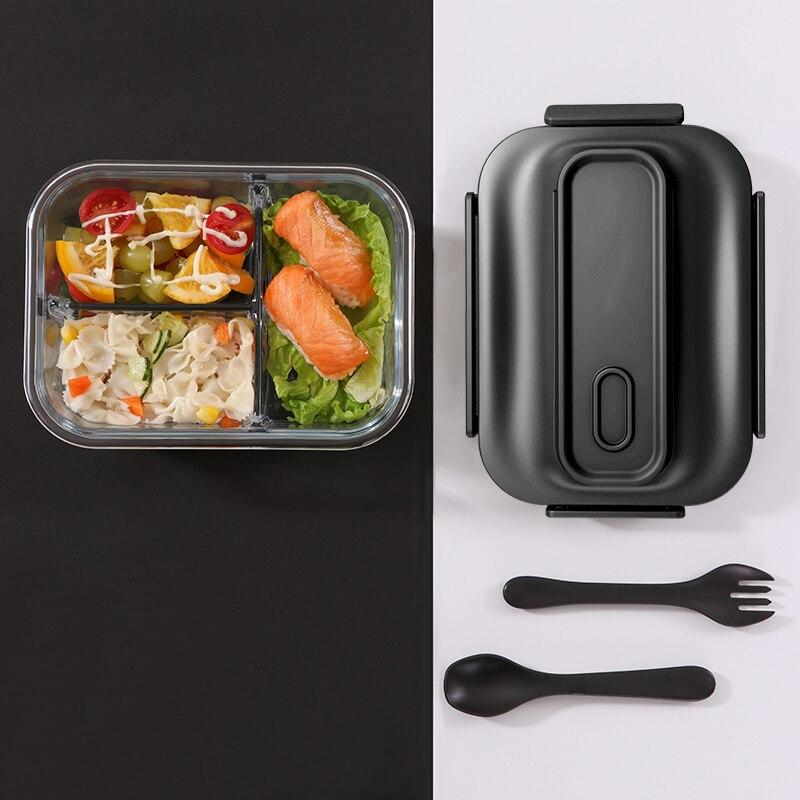 Contenedores preparación comida de vidrio contenedores de almacenamiento con tenedor bolsa para cuchara 2/3 compartimentos Bento loncheras