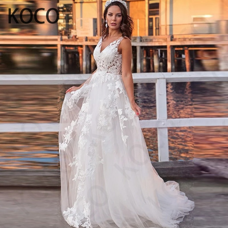 MACDUGAL-Vestido De Novia De tul Floral con cuello en V para mujer, traje De princesa con apliques, falda Simple De Novia Civil, 2021