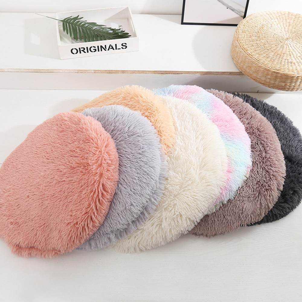 Fluffy Fleece  Cat Bed Round Pet Donut Deep Sleeping Cushion For Small Large Dogs Bed Winter Warm Plush Pad Superior Comfort