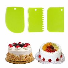 3 pcs Cream Scraper Suit DIY Kitchen Straight Arc Tooth Shape Cream Bread Cutter Plastic Cake Pasty