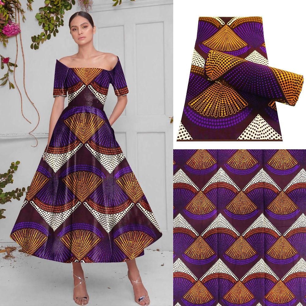 Tecido de Cera Nova Ancara África Impresso Real Retalhos Costura Vestido Artwork Acessório 100% Algodão Artesanato Materiais 6 Jardas 2021