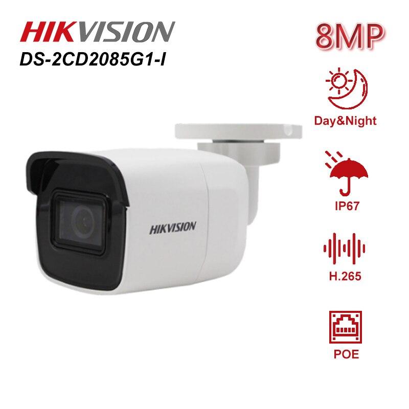 Hikvision original DS-2CD2085G1-I alimentado por darkfighter 8mp 20fps bala rede cctv câmera ip h.265 + poe wdr sd slot para cartão