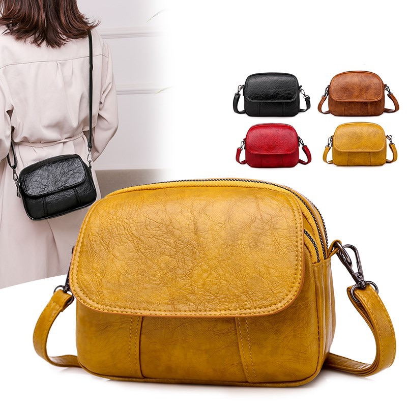 Luxury women's bag 2020 new high-quality soft PU leather ladies shoulder messenger bag designer multi-layer double zipper bag