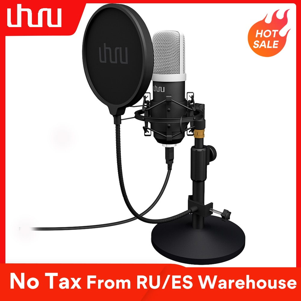 UHURU UM910 USB Microphone 192 kHz/24Bit Condenser Podcast Mikfofon Plug&Play Computer Mic for Gaming Youtube Vocal Recording