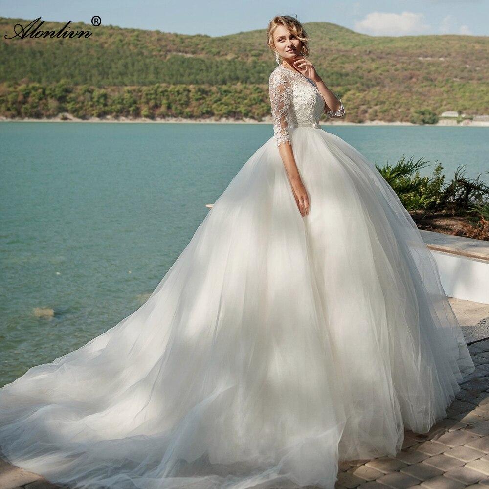 Alonlivn-فستان زفاف تول عالي الجودة ، فستان زفاف أنيق ، نصف كم ، رقبة مستديرة ، زي الأميرة
