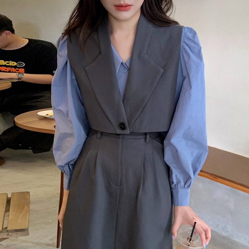 Women Skirt Suit Korean Chic Temperament Lapel Bubble Sleeve Shirt One Short Vest Waist Straight Ski