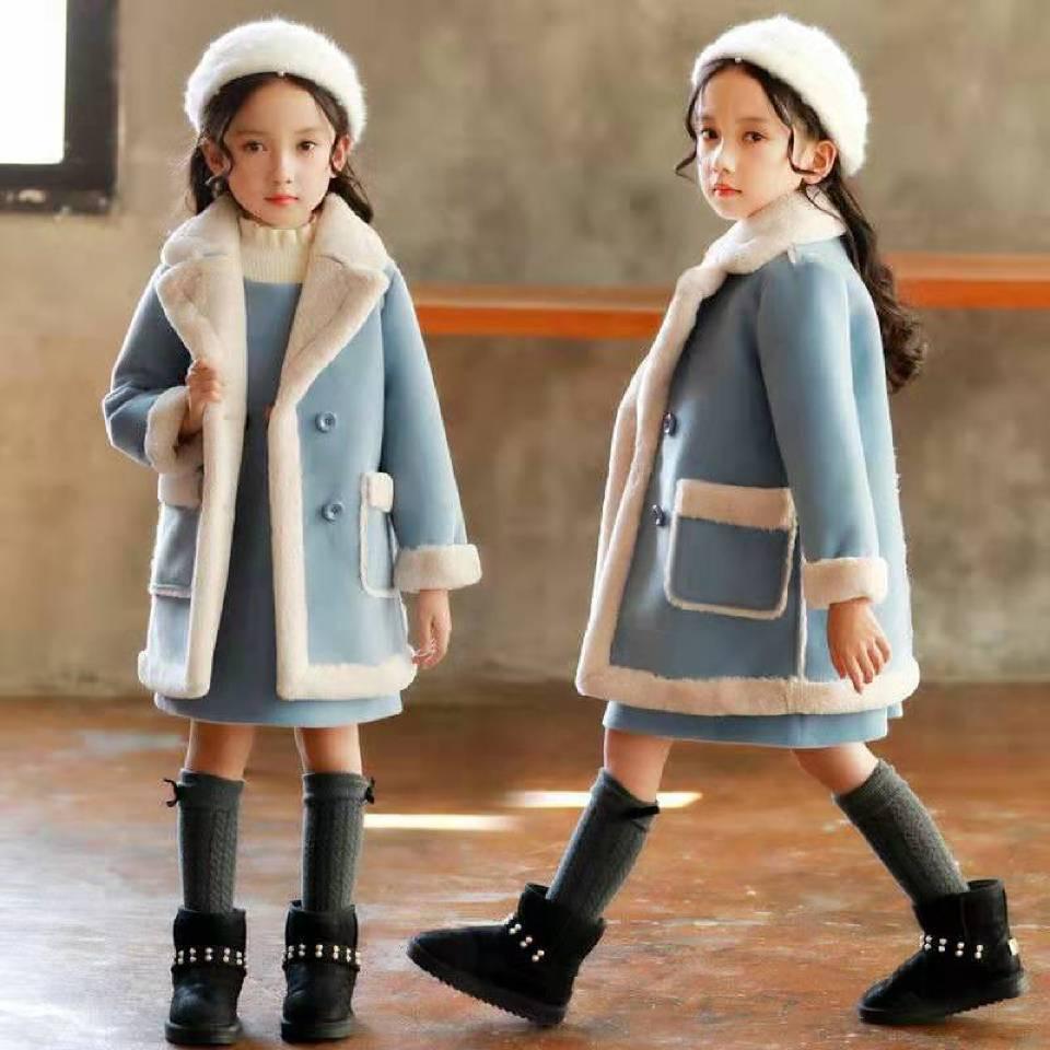 2019 Autumn Winter Children Girl Woolen JacketS For Age 3 4 6 8 10 12 Year Old Fashion Thicken Turn-down Collar Girls Coats