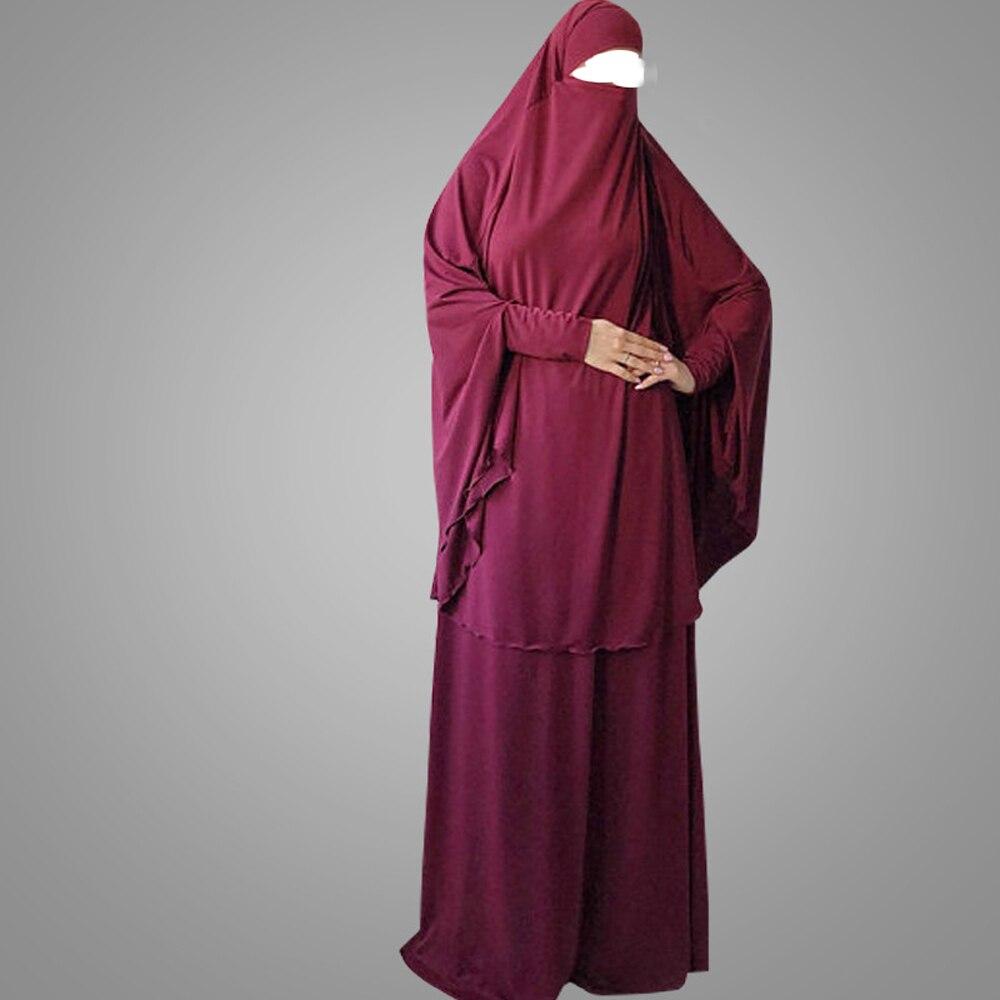 Ramadan 2 peça muçulmano oração conjuntos de vestuário feminino hijab abaya jilbab maxi vestido khimar burqa roupa islâmica overhead árabe robe