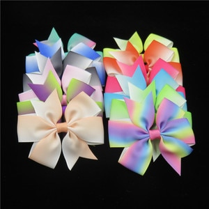 12PCS/LOT Lovely Gradient Ties Only Bows Elastic Bands For Baby Girls Hairpin Clips Pins Scrunchy Kids Hair Accessories New 2021