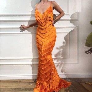Orange Tassels Mermaid Prom Dresses Elegant V Neck Spaghetti Strap Formal Evening Dress Abendkleider Custom Made Celebrity Gown