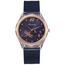 Women's Silicone Strap Round Dial Watch Dragonfly Printed Middle School Student Pointer Quartz C
