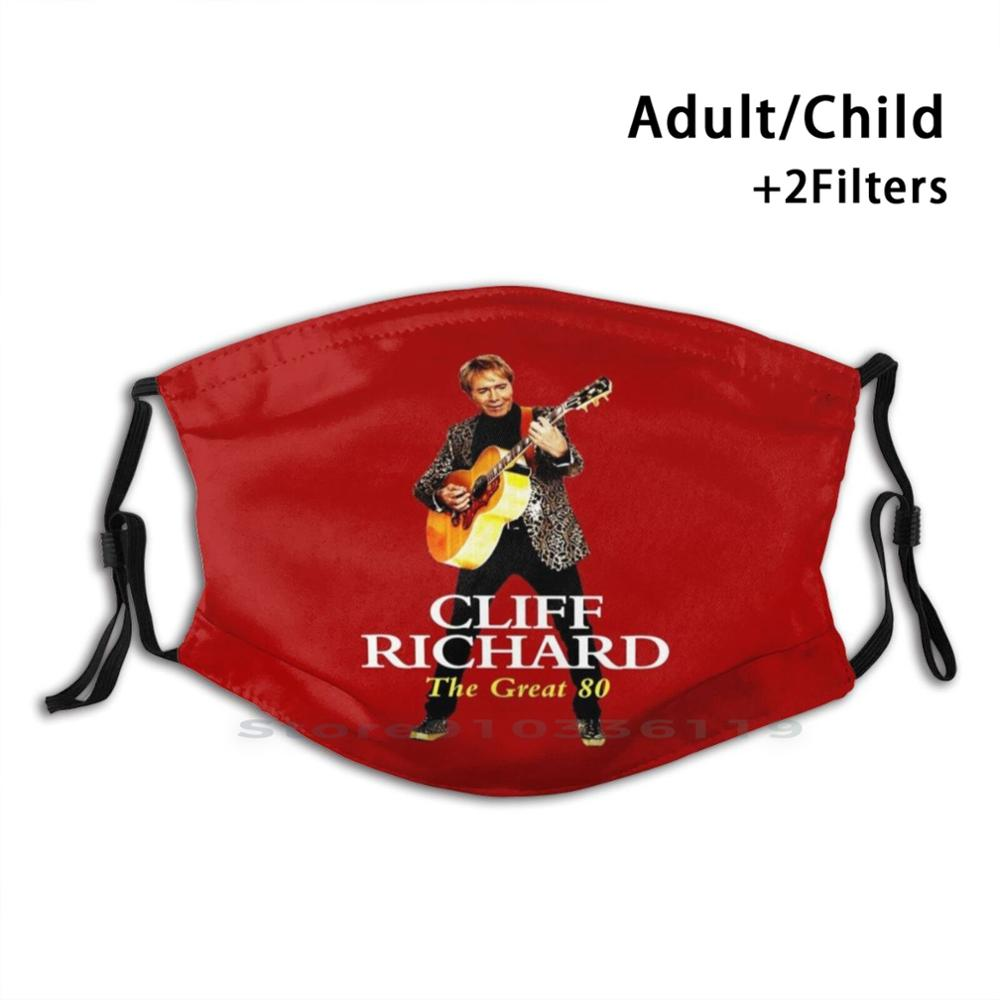 Cliff Richard - Legend Favorite Music Adult Kids Washable Funny Face Mask With Filter Cliff Richard Legend Favorite Music Genre
