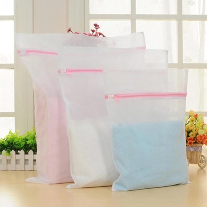 3 Pcs Zippered Mesh Laundry Wash Bags Foldable Thicken Delicates Lingerie Underwear Washing Machine Clothes Protection Net