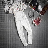 mens streetwear vintage distressed denim bib overall for men ripped jean jumpsuit jeans male suspender denim pants black white