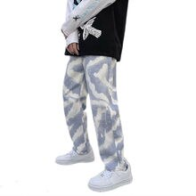 Baggy Jeans 2021 Fashion Men Clothing Tie Dye Elastic Waist Long Pants Casual Loose Trousers Bottom