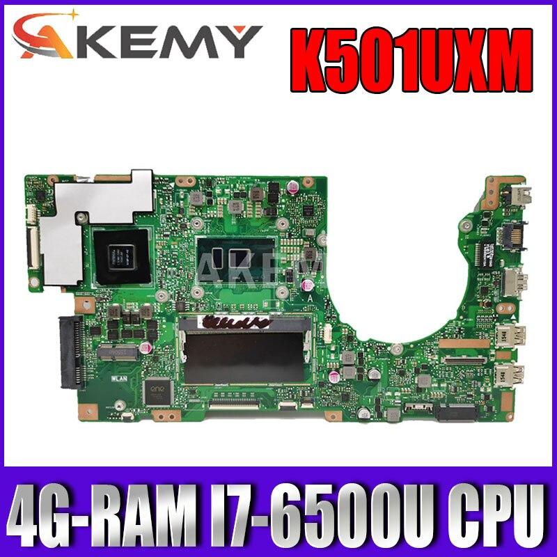 Akemy جديد! K501UXM اللوحة لابتوب Asus K501UW K501UXM K501UQ اللوحة الأصلية DDR4 4G-RAM I7-6500U GTX950M-GPU
