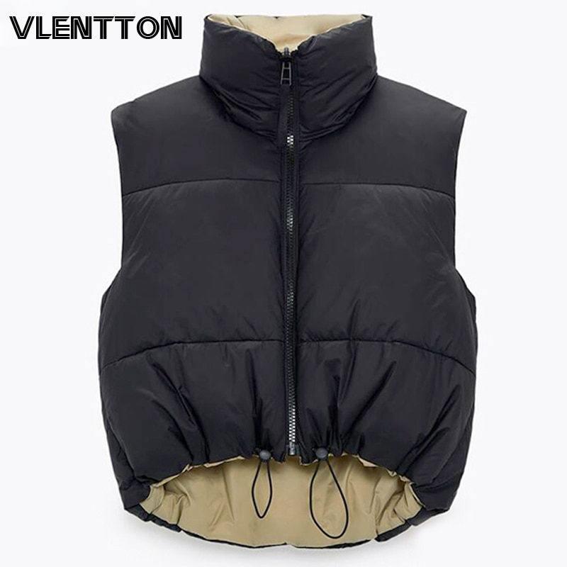 2021 Autumn Winter Women Fashion Double-Sided Jacket Coat Vintage Black Warm Sleeveless Cotton Outwear Female Casual Short Tops
