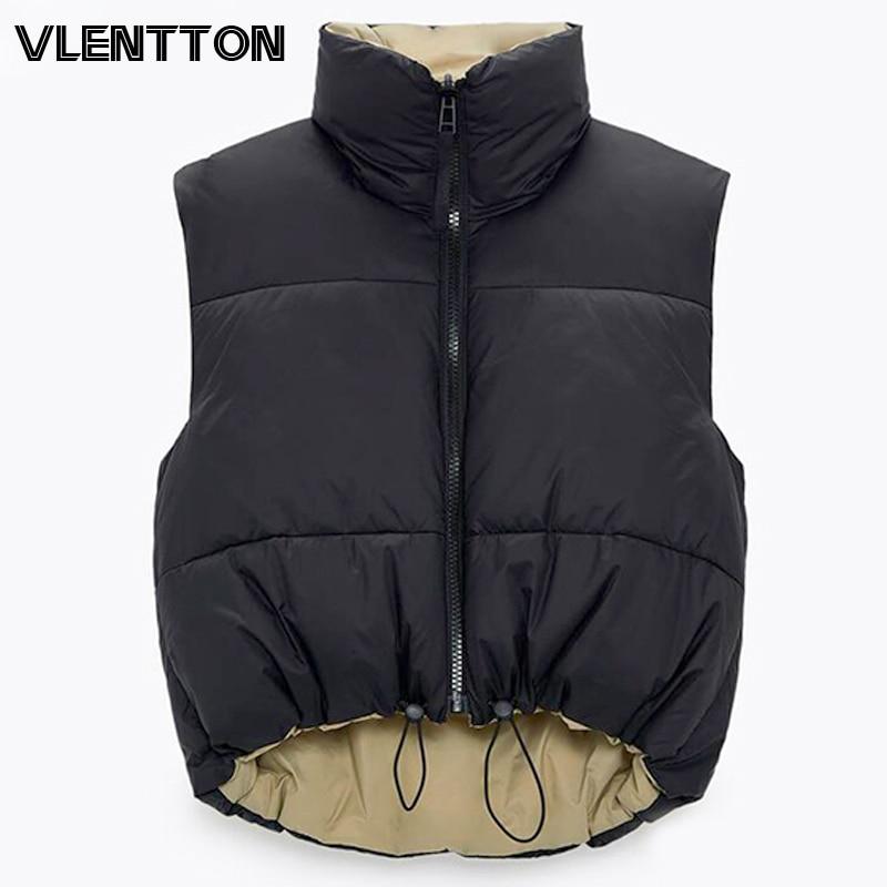 2021 Autumn Winter Women Fashion Double-Sided Jacket Coat Vintage Black Warm Sleeveless Cotton Outwe