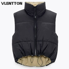2021 Autumn Winter Women Fashion Double-Sided Jacket Coat Vintage Black Warm Sleeveless Cotton Outwe