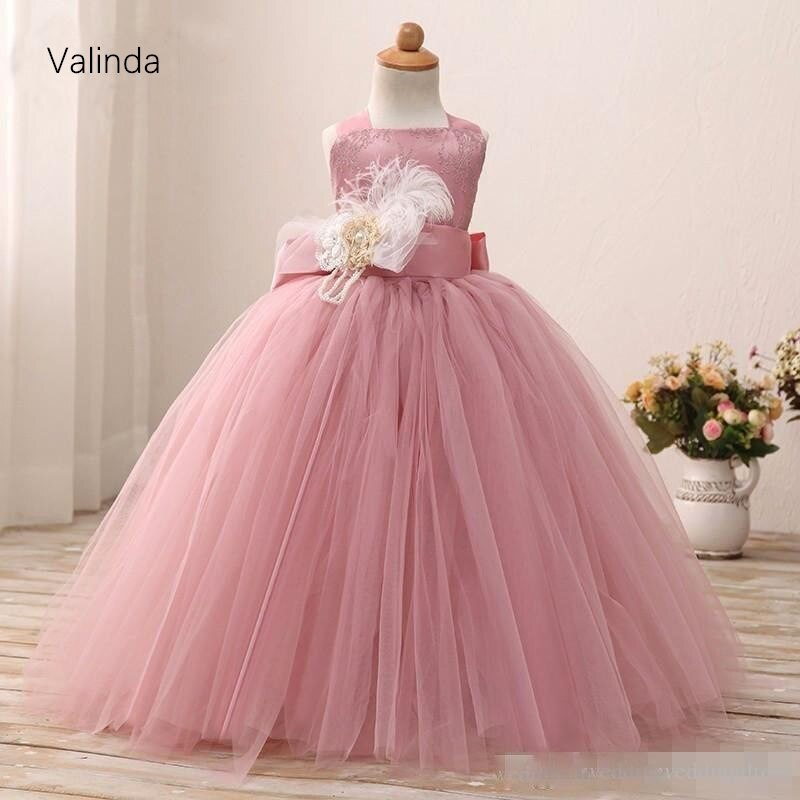 champagne kids girl formal party dress long tulle communion princess gowns flower girl dresses for wedding birthday Flower Girls' Dresses for Wedding Birthday Party Tulle Kids Formal Wear Girl's Pageant Gowns First Communion