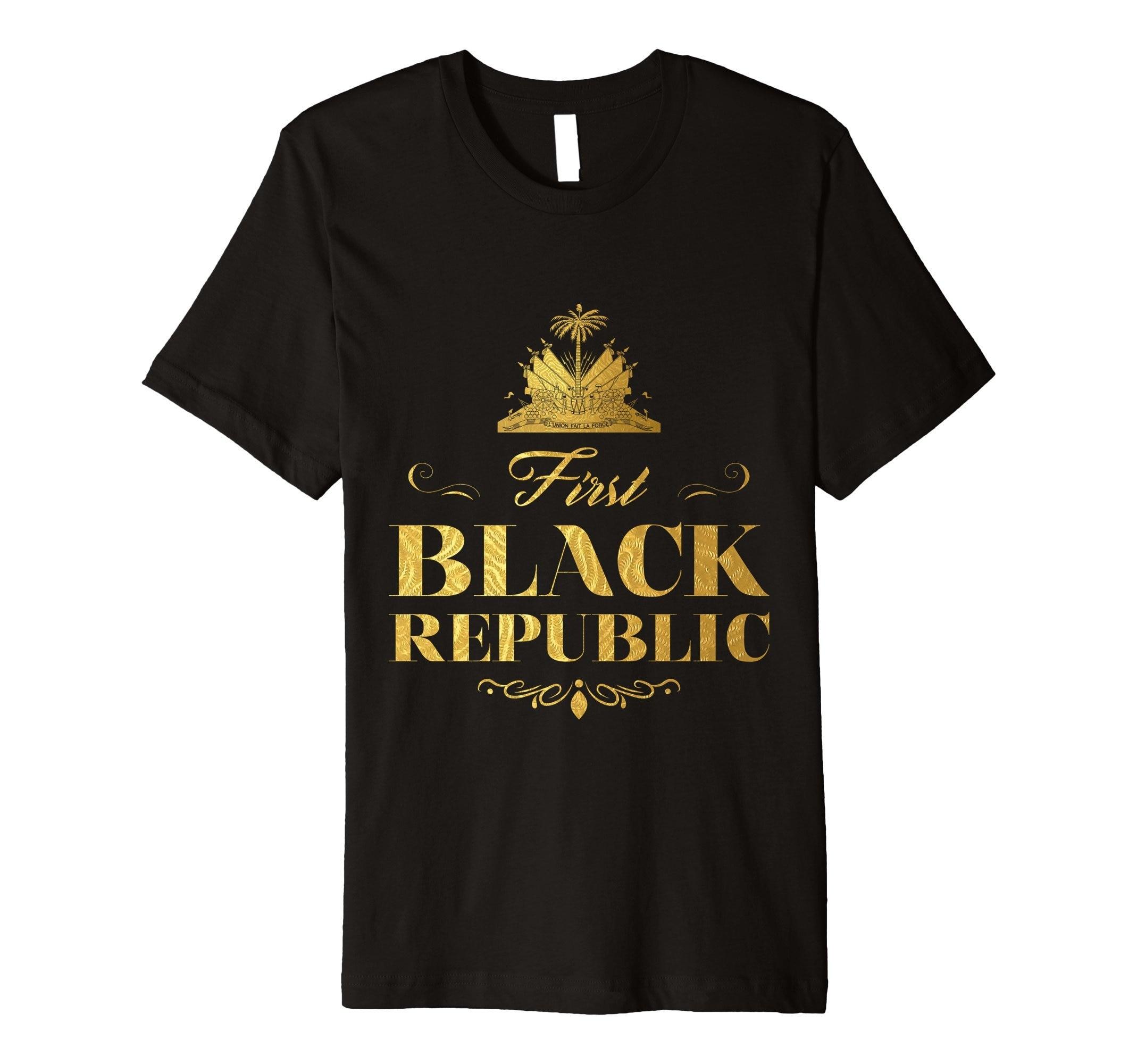 Camiseta divertida para hombre, nueva camiseta de manga corta para mujer, primera camiseta negra de la República de Haití, camiseta artística con bandera dorada 017968