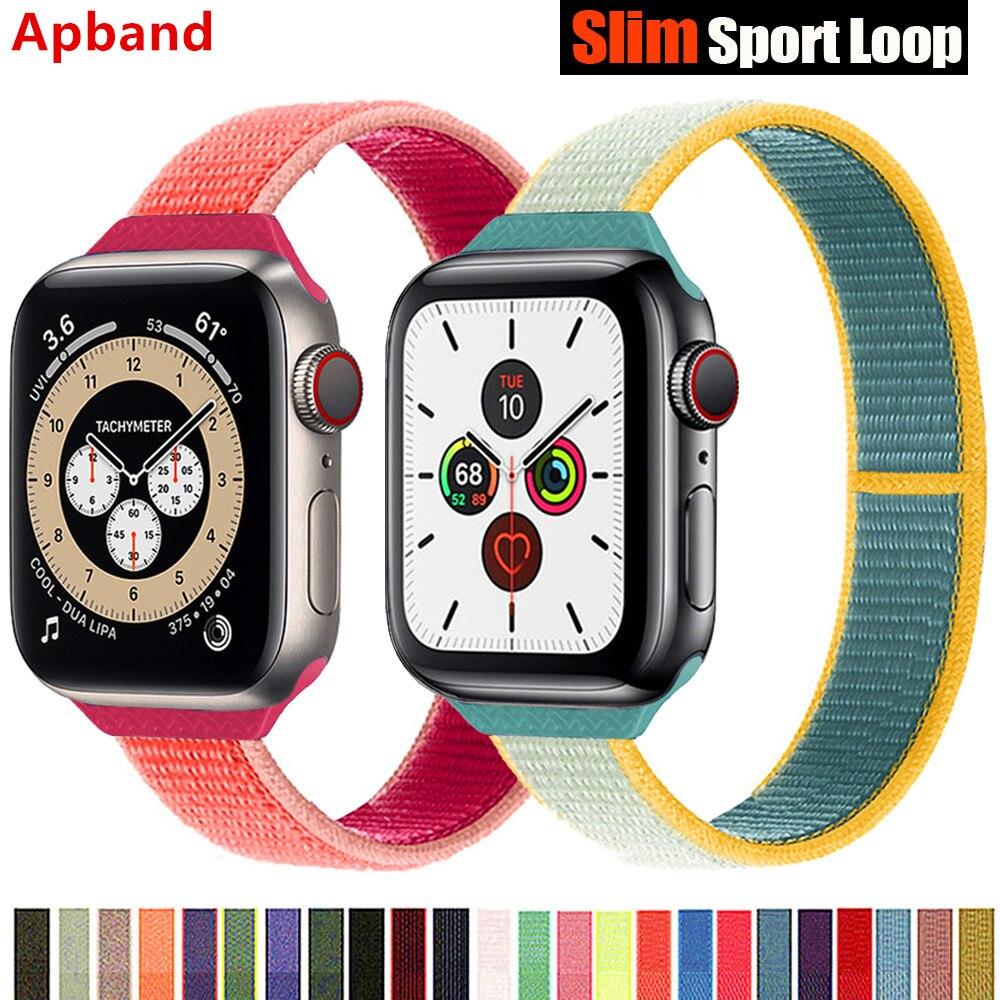 Cinta de laço de náilon fino para apple relógio banda 44mm 40mm 42mm 38mm pulseira smartwatch esporte iwatch série 5 3 4 se 6