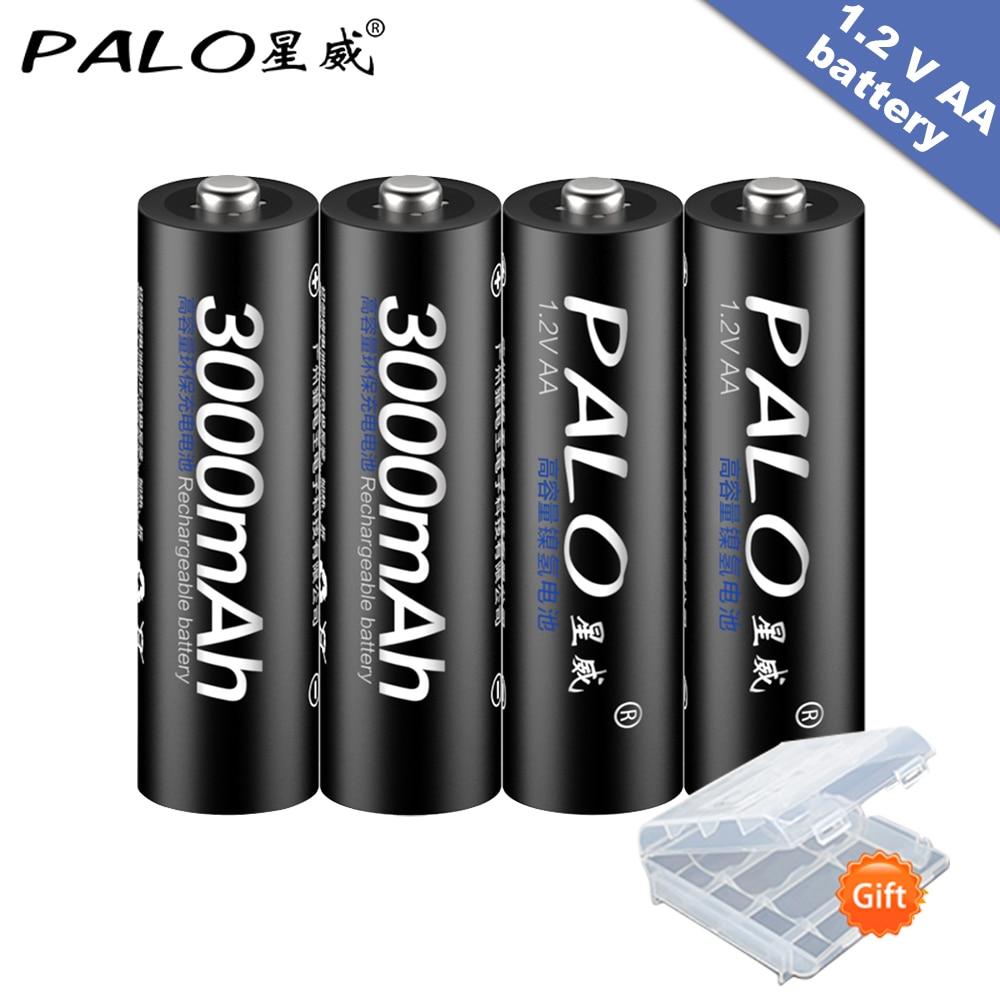 4 шт., аккумуляторные батарейки AA 1,2 В, AA 3000 мАч, Ni-MH, предварительно заряженные аккумуляторные батареи 2A, батареи для камеры с коробкой
