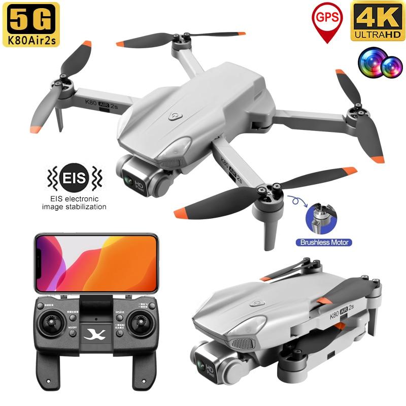 2021 K80Air 2S نظام تحديد المواقع بدون طيار 5G 4K واي فاي المهنية EIS HD كاميرا مزدوجة فرش السيارات RC طوي كوادكوبتر بوي أفضل الهدايا اللعب