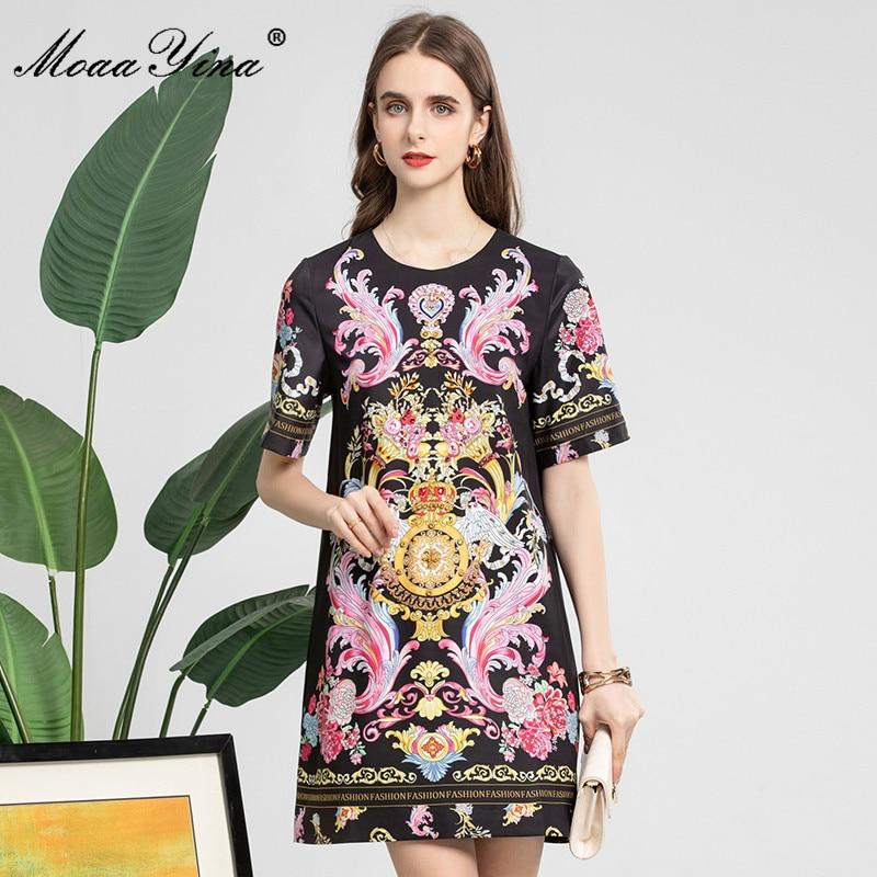MoaaYina مصمم أزياء الصيف فستان أسود قصير المرأة قصيرة الأكمام الأزهار طباعة الخرز خمر فستان حفلة صغيرة Vestidos